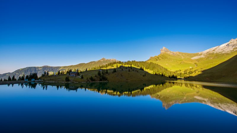 Lake Bannalpsee, Mountain Lake Idyll, Switzerland, Blue Sky, Clear sky, Landscape, Reflection, Reservoir, Scenery, Body of Water, Wallpaper