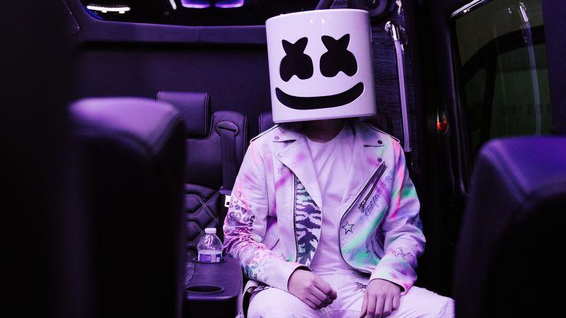 Marshmello, American DJ, Purple, Dark, Aesthetic, Wallpaper