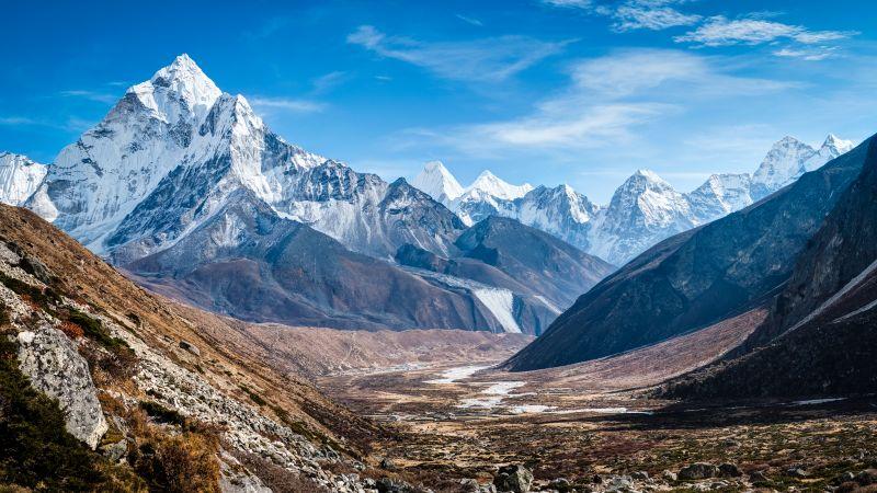 Mount Ama Dablam, Nepal, Mountain range, Glacier Mountains, Snow covered, Blue Sky, Landscape, Mountain Peaks, Wallpaper