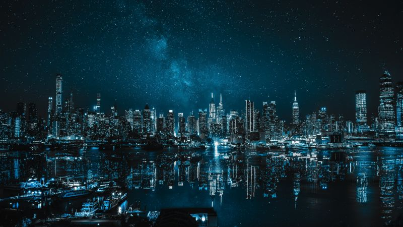 New York City, Cityscape, Night, City lights, Reflections, 5K, Wallpaper