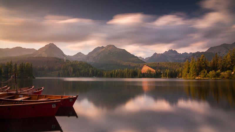Strbske pleso, Tatra National Park, Slovakia, Boats, Lake, Landscape, Reflection, Mountain range, Lakeside, Wooden House, Long exposure, Wallpaper