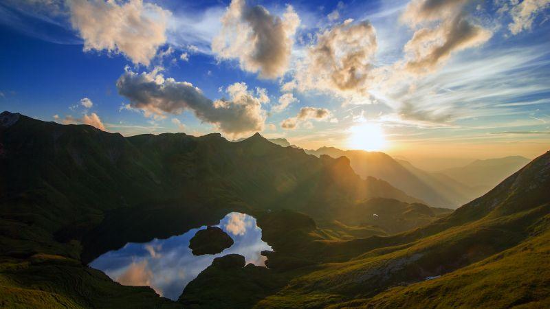 Schrecksee Lake, Germany, Sunset, Mirror Lake, Hinterstein, Landscape, Reflection, Sun rays, Mountain range, White Clouds, Wallpaper