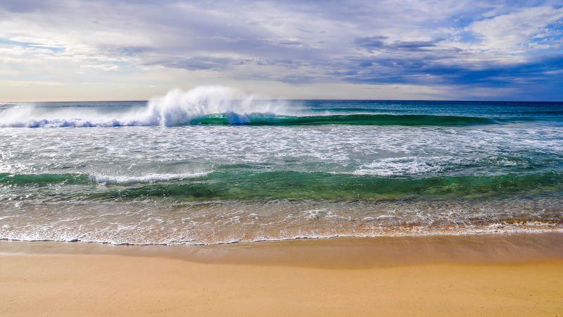 Crashing Waves, Ocean, Beach, Sand, Seascape, Horizon, Cloudy Sky, Landscape, Australia, Wallpaper