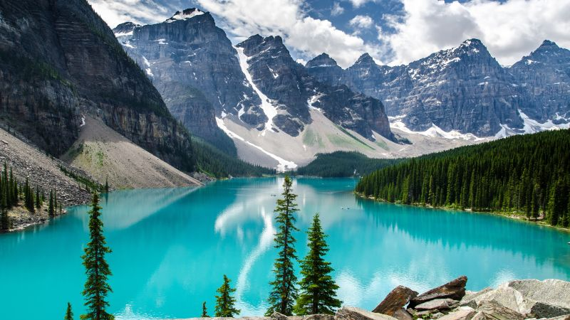 Moraine Lake, Canada, Valley of the Ten Peaks, Banff National Park, Glacier mountains, Snow covered, Green Trees, Reflection, Blue Water, Daytime, Landscape, Scenery, Wallpaper