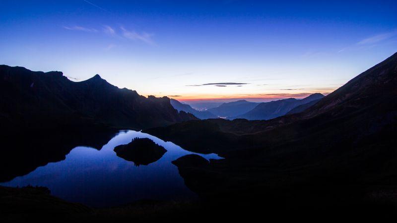 Schrecksee Lake, Germany, Sunset, Mirror Lake, Hinterstein, Landscape, Mirror Lake, Reflection, Mountain range, Silhouette, Dusk, Night time, Wallpaper