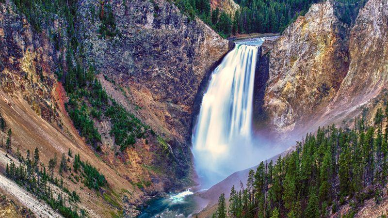 Lower Falls, Yellowstone National Park, Wyoming, Yellowstone River, United States, Yellowstone Falls, Waterfalls, Cliffs, Dawn, Long exposure, Water Stream, Landscape, High Dynamic Range, HDR, Wallpaper