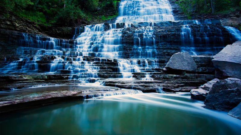 Albion Falls, Hamilton, Ontario, Canada, Waterfalls, Landscape, Long exposure, Water Stream, Forest, Scenery, Rocks, Wallpaper