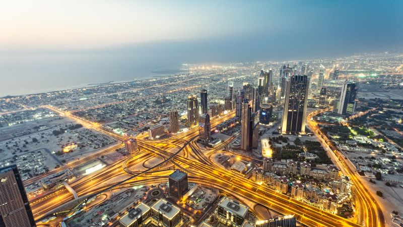 Dubai City, Aerial view, Cityscape, City lights, Long exposure, Skyline, United Arab Emirates, Skyscrapers, High rise building, Wallpaper