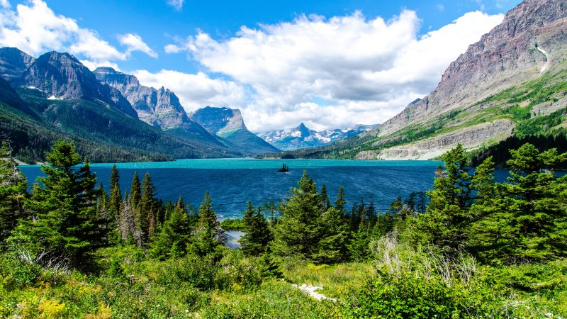 Wild Goose Island, Saint Mary Lake, Glacier National Park, USA, Mountain range, White Clouds, Glacier mountains, Snow covered, Green Trees, Blue Water, Landscape, Scenery, Wallpaper