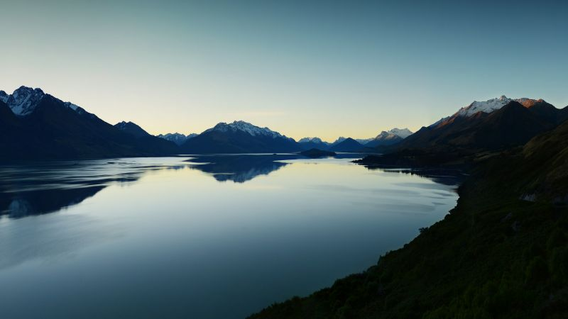 Lake Wakatipu, Queenstown, New Zealand, Landscape, Mountain range, Glacier mountains, Snow covered, Dusk, Reflection, Clear sky, Evening sky, Wallpaper