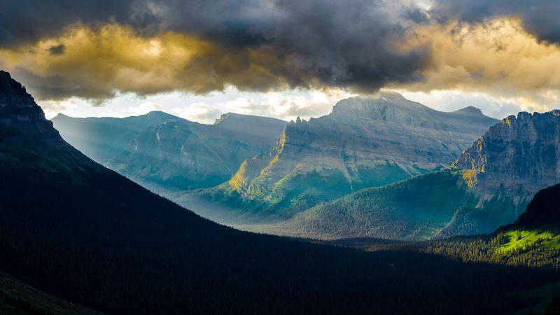 Logan Pass, Glacier National Park, Montana, Early Morning, Sunlight, Thick Clouds, Mountain range, Landscape, Wallpaper