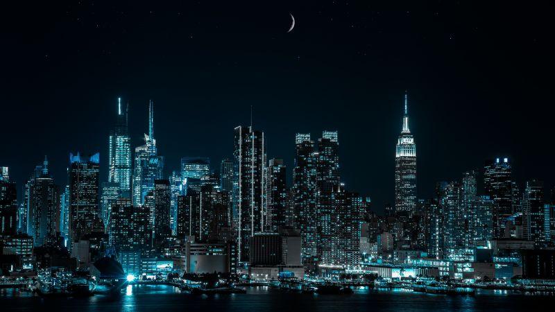 New York City, Cityscape, Night, City lights, Half moon, 5K, Wallpaper