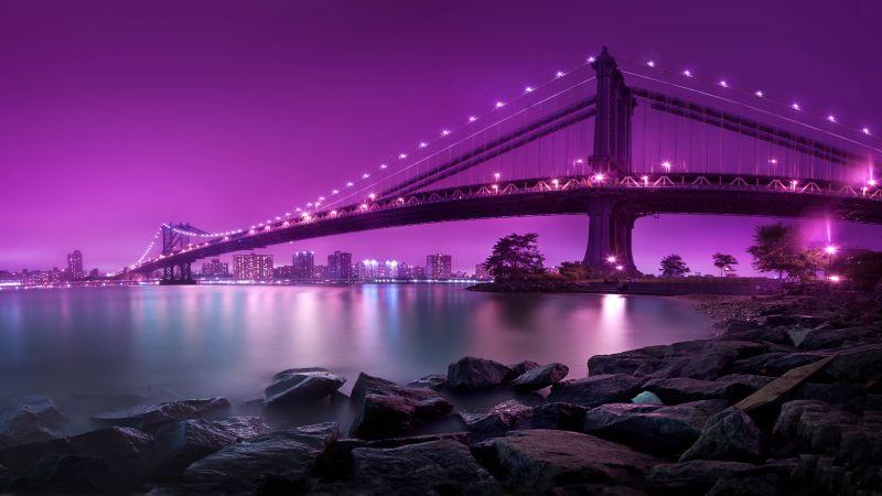 Manhattan Bridge, New York City, United States, Purple sky, Body of Water, River, Suspension bridge, Landscape, Famous Place, Tourist attraction, Rocks, Long exposure, City lights, Cityscape, Aesthetic, 5K, 8K, Wallpaper