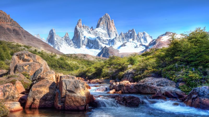 Fitz Roy, Patagonia, Glacier mountains, Snow covered, Argentina, Picturesque, River Stream, Rocks, Blue Sky, Mountain Peaks, Sunny day, Landscape, Scenery, 5K, Wallpaper