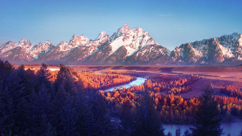 Grand Teton National Park, Snake River, Wyoming, USA, Sunrise, Glacier mountains, Blue Sky, Snow covered, Mountain range, Landscape, Scenery, Aesthetic, 5K, Wallpaper