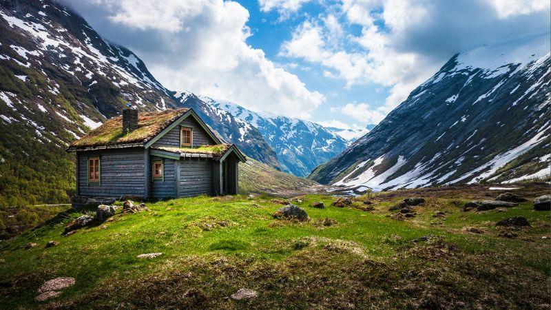 Valley House, Wooden House, Cabin, Glacier mountains, Snow covered, Landscape, Scenery, White Clouds, Daytime, Norway, Wallpaper