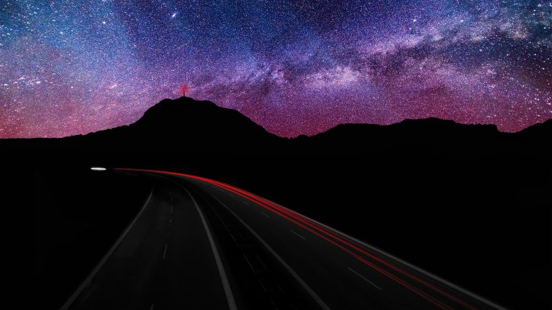Mountain silhouette, Light trails, Long exposure, Astronomy, Starry sky, Galaxy, Milky Way, Road, Night time, Outer space, Purple sky, Wallpaper