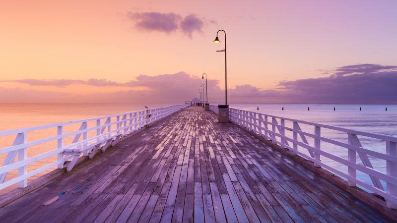 Shorncliffe Pier, Australia, Fishing Pier, Brisbane, Sunrise, Seascape, Pink sky, Horizon, Pattern, Clouds, Wallpaper