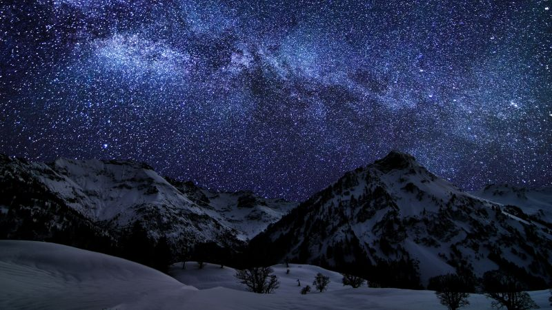 Glacier mountains, Snow covered, Night time, Landscape, Milky Way, Galaxy, Stars, Long exposure, Astronomy, Digital composition, Wallpaper