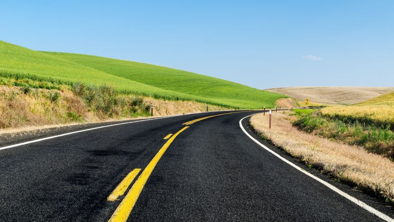 Green Meadow, Road, Landscape, Scenery, Beautiful, Blue Sky, Clear sky, Wallpaper