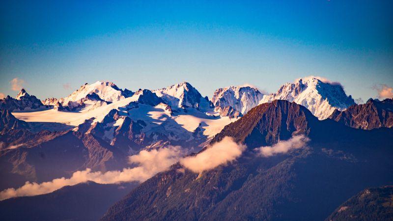 Swiss Alps, Mountains, Summit, Peaks, Switzerland, 5K, Wallpaper