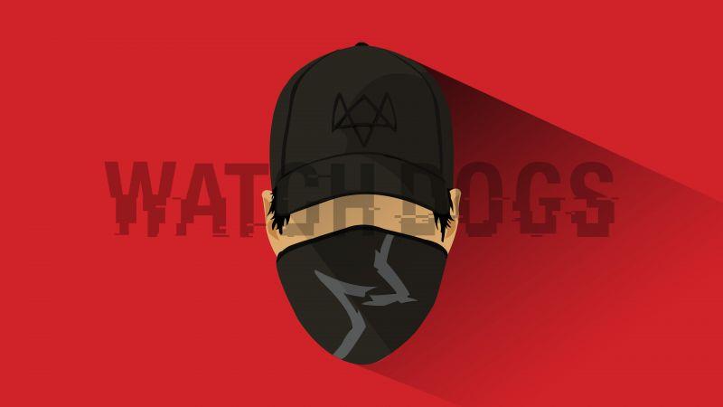 Marcus Holloway, Watch Dogs 2, Red background, Minimal art, 5K, 8K, Wallpaper