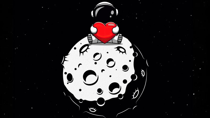 Red heart, Astronaut, Planet, Outer space, Black background, AMOLED, Cute, 5K, Wallpaper