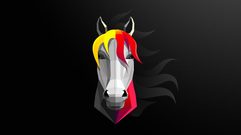 Horse, Black background, Minimal art, Wallpaper