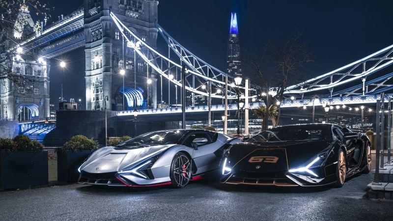 Lamborghini Sián FKP 37, London Bridge, 2021, 5K, Wallpaper
