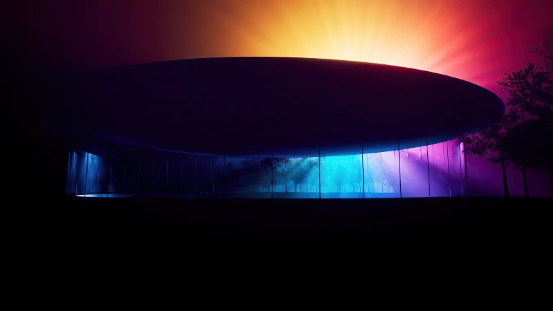 Steve Jobs Theater, Apple Park, Modern architecture, Colorful background, Wallpaper