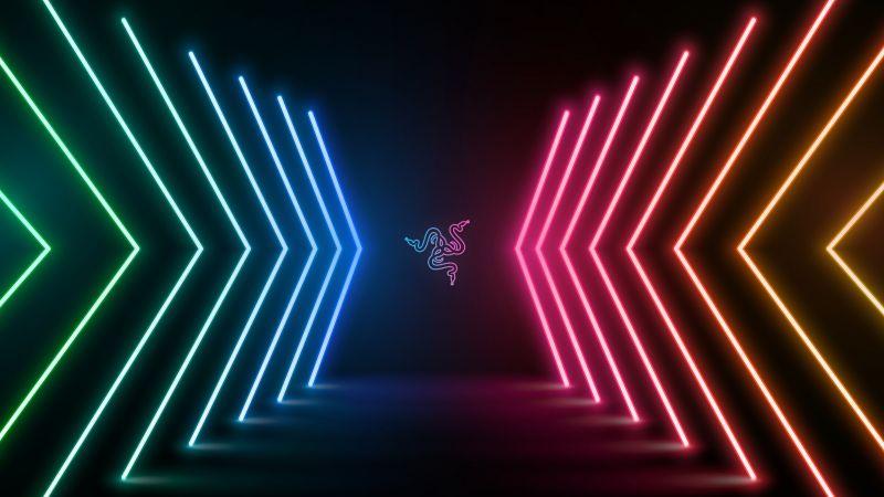 Razer, Neon Lights, Colorful, Dark background, Wallpaper