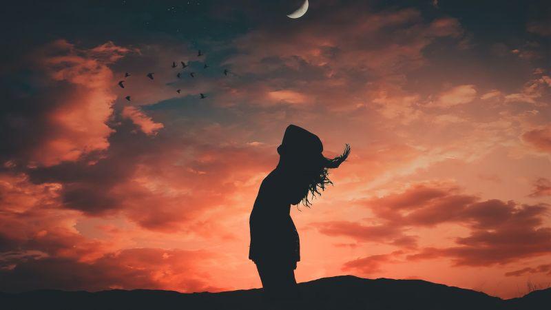 Girl, Silhouette, Evening sky, Crescent Moon, Dusk, Mood, Wallpaper