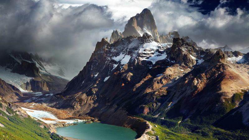 Fitz Roy, Patagonia, Argentina, Mountain Peak, Glacier mountains, Snow covered, Landscape, Cloudy Sky, Lake, Valley, 5K, Wallpaper