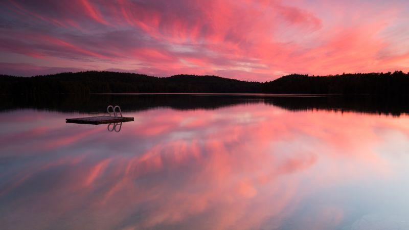Mirror Lake, Pink sky, Silhouette, Reflection, Landscape, Scenery, Sunset, Wallpaper