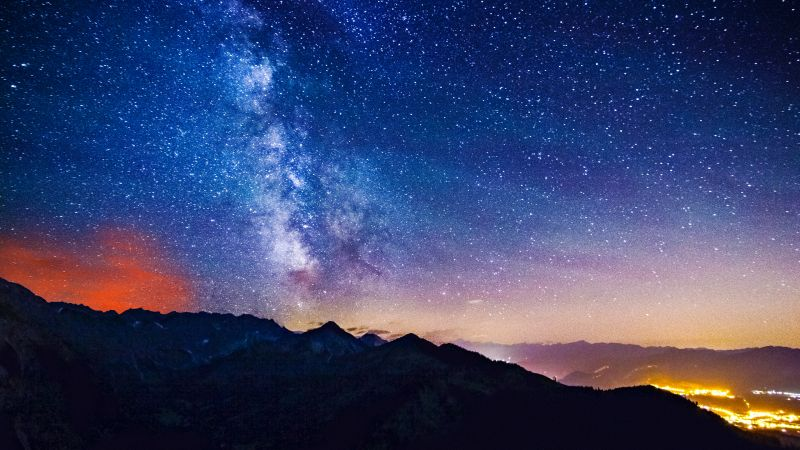 Milky Way, Starry sky, Astronomy, Night time, Outer space, Silhouette, Mountains, Landscape, Long exposure, Galaxy, Wallpaper