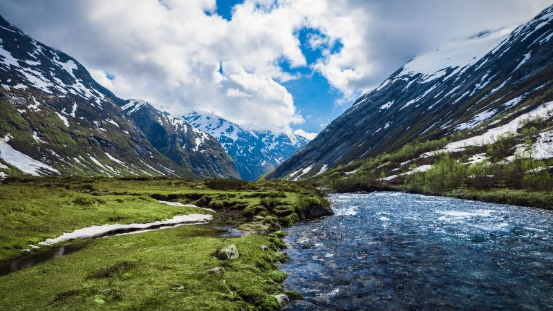 Valley, Glacier mountains, Snow covered, Landscape, Water Stream, Scenery, White Clouds, River, Wallpaper