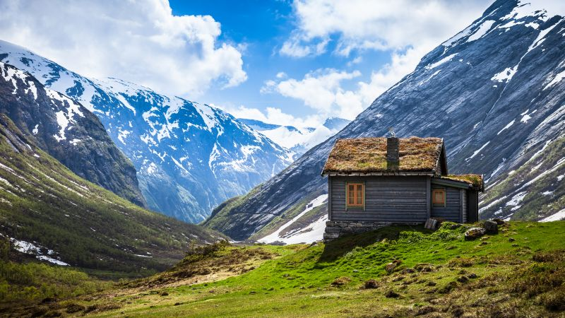 Valley House, Glacier mountains, Snow covered, Landscape, Scenery, Wooden House, White Clouds, Day time, Wallpaper