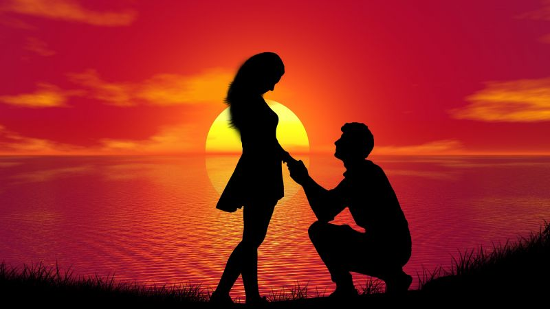 Couple, Sunset, Proposal, Silhouette, Romantic, Lovers, Together, Wallpaper