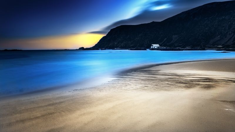 Grotlesanden Beach, Norway, Coastal, Landscape, Long exposure, Seascape, Ocean, Mountains, Turquoise water, Sand, Wallpaper