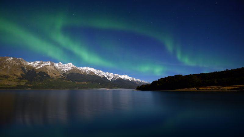 Lake Wakatipu, Aurora Borealis, New Zealand, Glacier mountains, Snow covered, Long exposure, Mountain range, Astronomy, Landscape, Scenery, Dawn, Night time, Wallpaper