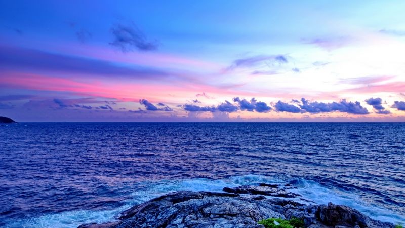 Promthep Cape, Phuket, Thailand, Seascape, Rocky coast, Sunset, Horizon, Cloudy Sky, Scenery, Horizon, Tourist attraction, Wallpaper