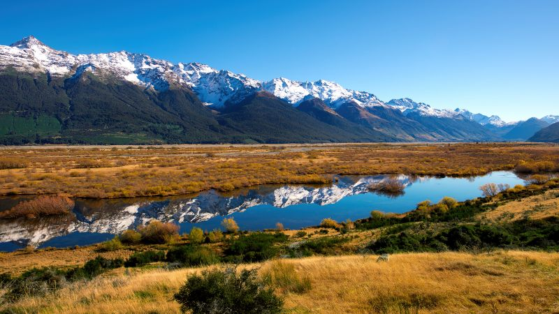 South of Rivendell, New Zealand, Landscape, Glacier mountains, Snow covered, Mountain range, Reflection, Blue Sky, Scenery, Wallpaper