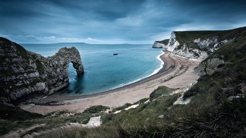 Durdle Door, Rock formation, Jurassic Coast, England, Seascape, Landscape, Coastline, Cloudy Sky, Evening, Arch, Ocean, Landmark, Beach, Wallpaper