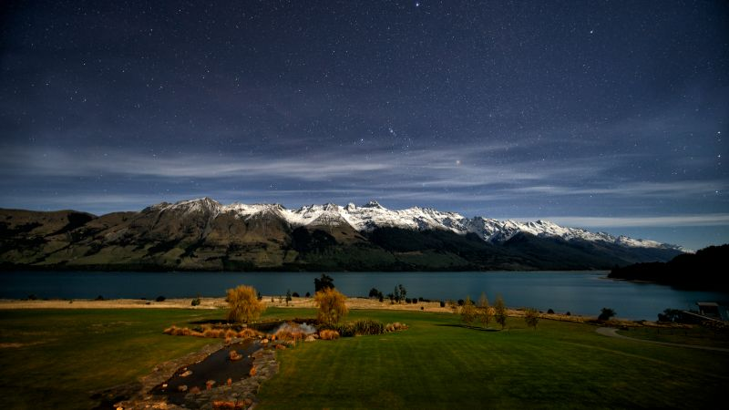 Lake Wakatipu, Queenstown, New Zealand, Glacier mountains, Mountain range, Snow covered, Astronomy, Night time, Starry sky, Landscape, Wallpaper