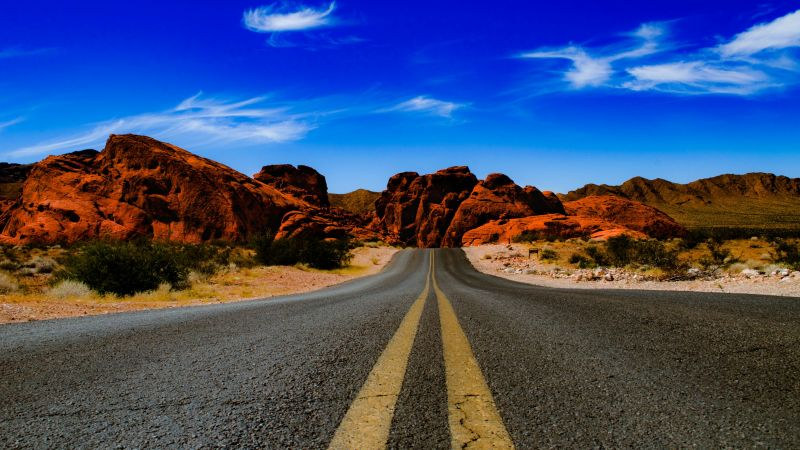 Valley of Fire State Park, Nevada, United States, Endless Road, Rock formations, Blue Sky, Clear sky, Red rocks, Wallpaper