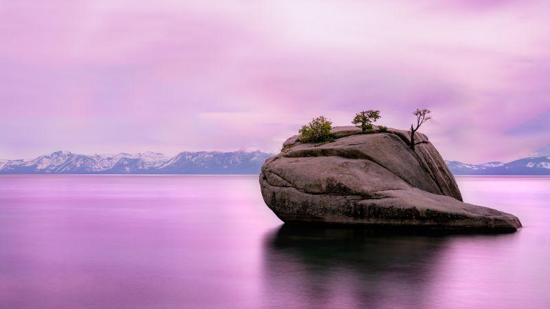 Lake Tahoe, United States of America, Pink sky, Rock, Long exposure, Mountain range, Body of Water, Pink Water, Landscape, Scenery, Shadow, 5K, Wallpaper