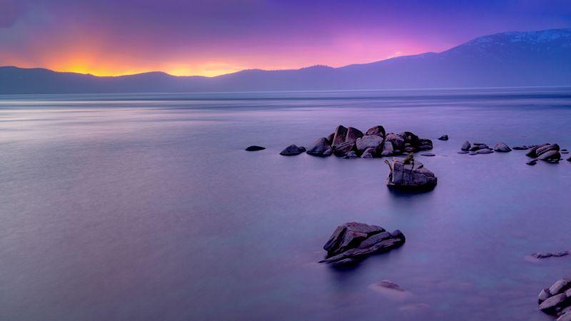 Rocky coast, Rock formations, Seascape, Ocean, Mountain, Sunrise, Purple sky, Dawn, Long exposure, Scenery, 5K, 8K, Wallpaper