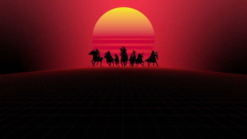 Red Dead Redemption, Synthwave, Outrun, 5K, 8K, Wallpaper