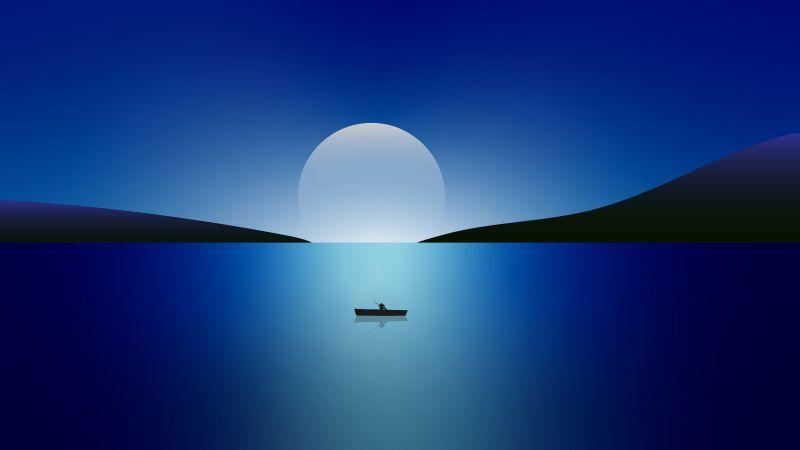 Moon, Night, Seascape, Sailing boat, Blue, Minimal, 5K, 8K, Wallpaper