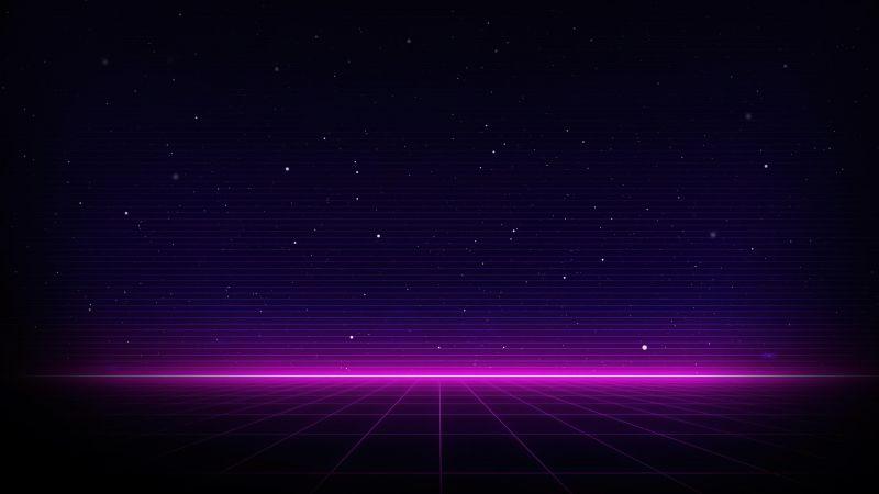 Outrun, Neon, Dark background, Purple, Wallpaper